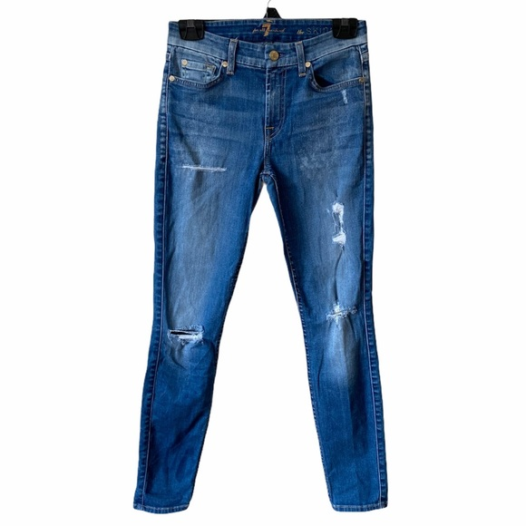 7 for all mankind   The Skinny Jean Distressed